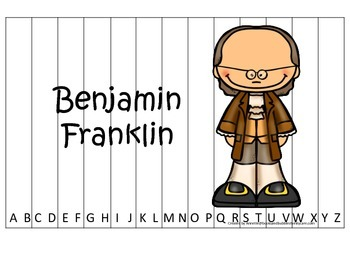 Benjamin Franklin themed Alphabet Sequence Puzzle.  Preschool learning game.