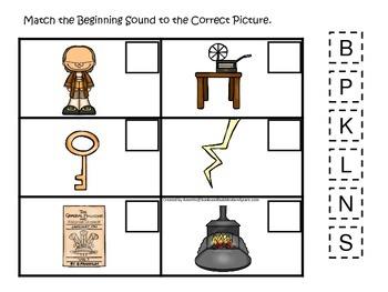 Benjamin Franklin themed Match the Beginning Sound.  Preschool learning game.