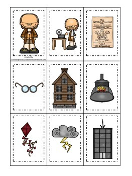 Benjamin Franklin themed Memory Matching Cards.  Preschool learning game.
