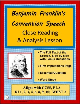 BENJAMIN FRANKLIN'S Convention Speech, Full Text and Study