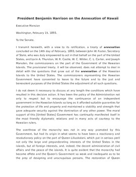 Benjamin Harrison (Annexation of Hawaii) Worksheet