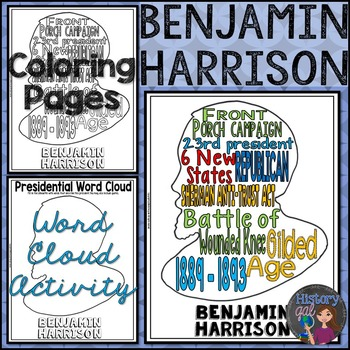 Benjamin Harrison Coloring Page and Word Cloud Activity