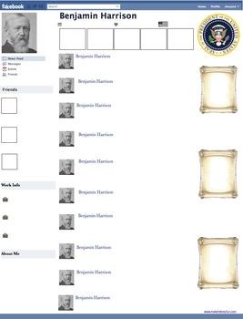 Benjamin Harrison Presidential Fakebook Template