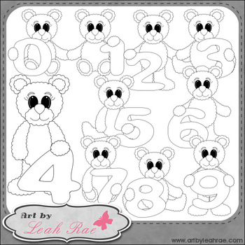 Benny Bear Learns Math Numbers 1 - Art by Leah Rae Clip Art & Digi Stamps