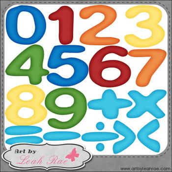 FREEBIE: Benny Bear Math Numbers & Symbols 1 - Art by Leah Rae Clip Art & B&W