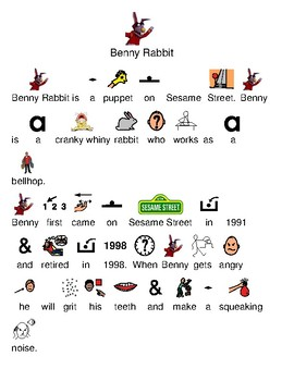 Benny Rabbit - Sesame Street - picture supported text lesson