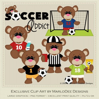 Benson Bear Soccer Clip Art Graphics