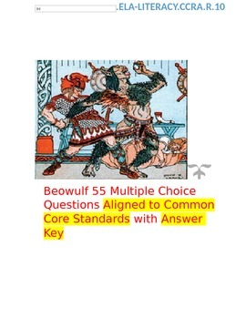 Beowulf 55 Multiple Choice Question Test  Common Core  Answer Key