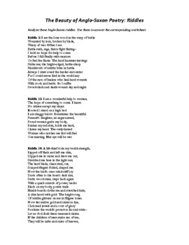Beowulf: Anglo-saxon Riddles