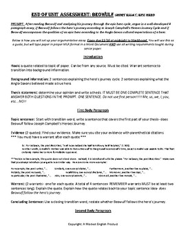 Beowulf Argumentative Essay Epic Hero By A Modest English  Tpt Beowulf Argumentative Essay Epic Hero