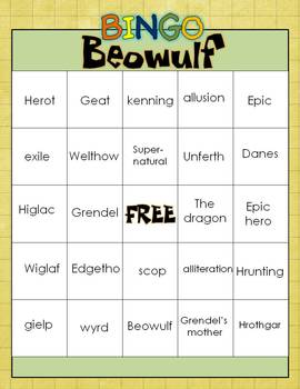 BEOWULF BINGO: INSTRUCTIONS. GAME BOARDS, AND CALL SHEET