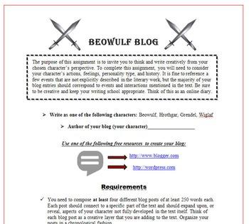 Beowulf Bundle: Resume, Rubric, Boast, Essay, Gallery Walk, Quiz & More