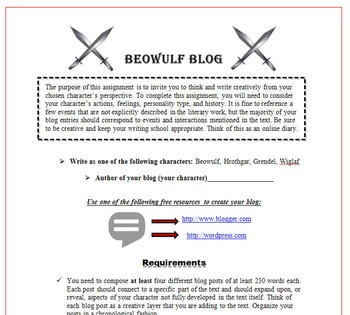 Beowulf Bundle: Resume, Rubric, Boast, Essay, Gallery Walk, Quiz U0026 More  Resume Rubric