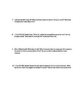 Beowulf Close reading Questions Lines 399-687