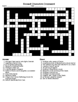 Beowulf Crossword and Word Search (Terms, Characters & Setting)