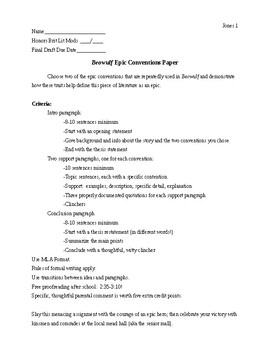 Beowulf Epic Conventions Paper