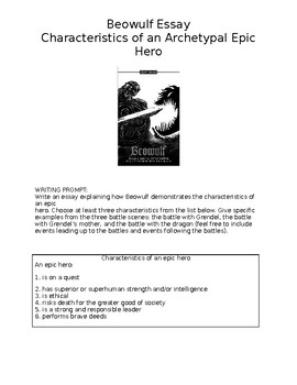 Beowulf Epic Hero Essay Packet By Matthew And Jennifer Howe  Tpt Beowulf Epic Hero Essay Packet Help With Bibliography also Essay Paper Writing  How To Write A Thesis Paragraph For An Essay
