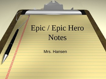 Beowulf: Epic Hero Powerpoint & Notes