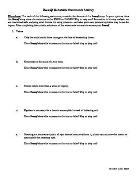 Beowulf Essay Packet