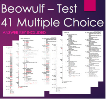 Beowulf Final Test - 41 Multiple Choice Questions