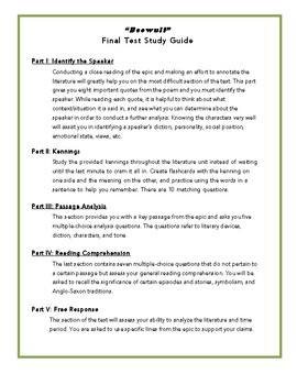 Beowulf- Final Test Study Guide