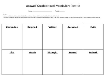 Beowulf Gareth Hinds Graphic Novel Interactive Vocabulary Study Guide Assess. 1