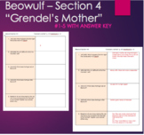 "Beowulf - ""Grendel's Mother"" with ANSWER KEY Questions Section 4"