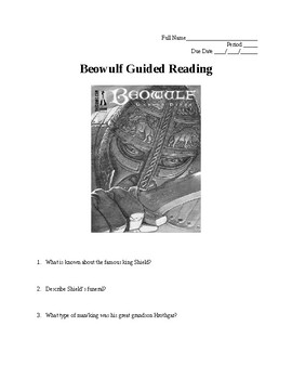 Beowulf Guided Reading for Entire Book with Answer KEY