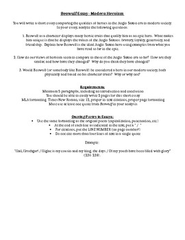 Beowulf Heroism Essay By Melissa Andrews  Teachers Pay Teachers Beowulf Heroism Essay