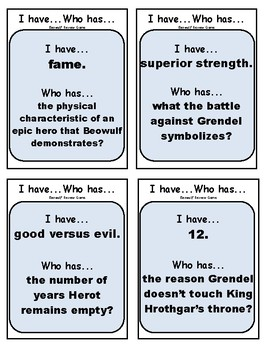 Beowulf (I Have, Who Has) Game
