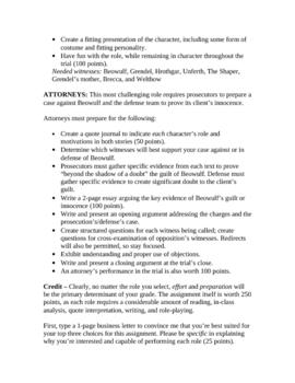 Beowulf & John Gardner's Grendel: Mock Trial Project; Complete Unit