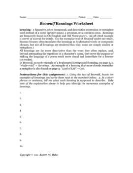 Printables Beowulf Worksheets beowulf kennings identification worksheet by robert m baker worksheet
