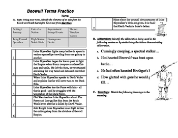 Beowulf Literary Terms Practice Worksheet