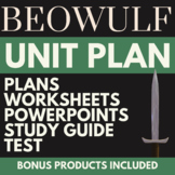 NEW! Beowulf PACK; 7 Lesson Plans, 5 PPTs, 5 worksheets, S