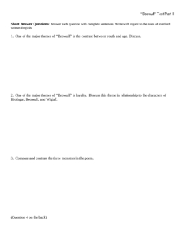 Beowulf Part 2 Test