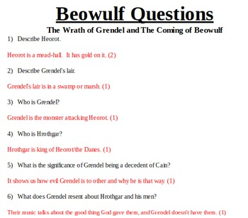 Beowulf Part I & II Questions: The Wrath of Grendel and The Coming of Beowulf