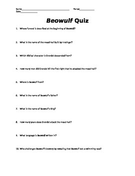 Beowulf Quiz Questions