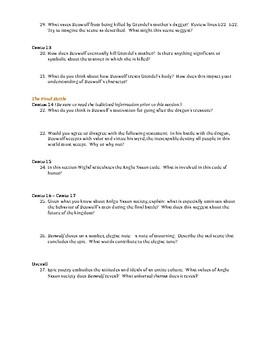 Beowulf (Raffel translation)- Guided Reading Question