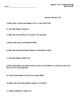 Beowulf Reading Packet Part II