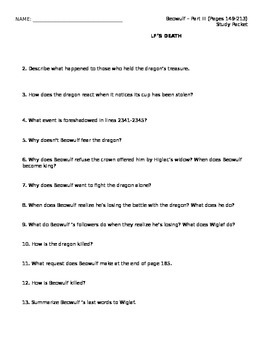 Beowulf Reading Packet Part III