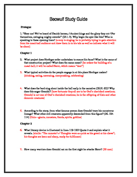 Beowulf Reading Questions w/Answers