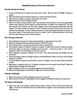 Beowulf Reading and Discussion Questions w/ THOROUGH ANSWER KEYS!