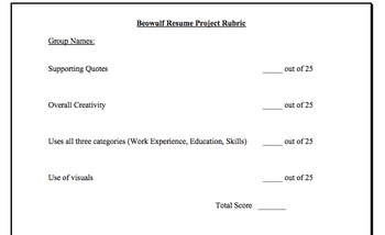 Beowulf Resume   Critical Reading And Writing Activity With Rubric  Resume Rubric