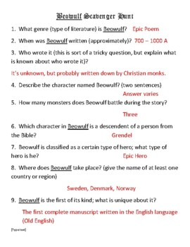 Beowulf Scavenger Hunt with Key