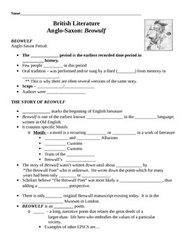 Beowulf Overview Presentation Note-taking Handout