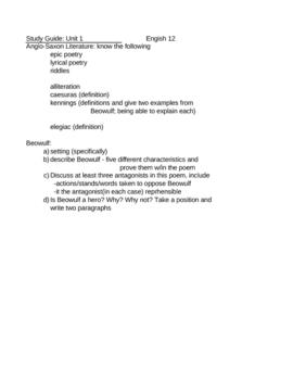 Beowulf Study Guide Basic