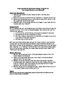 Beowulf Synthesis Essay Prompt By Teach Them To Think  Tpt Beowulf Synthesis Essay Prompt