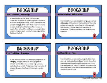 Beowulf Task Card Set with Digital Task Cards and Graphic Organizer