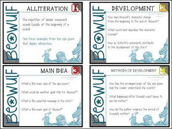 BEOWULF: TASK CARDS FOR YOUR CLASSROOM LITERARY TERMS , ANGLO SAXON, EPIC POEM