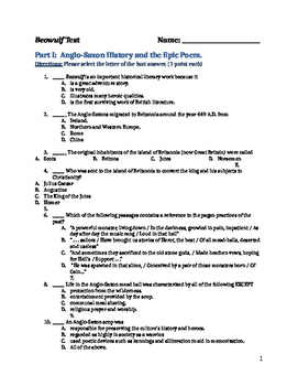 Beowulf- Test and Answer Key